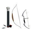 set of bows arrowheads and quiver of arrows vector image