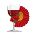 spanish fan with wine cup vector image