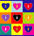 heart woth lock sign  pop-art style vector image