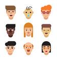 people avatars set modern flat character cartoon vector image