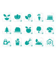 stylized different plants and gardening icons vector image vector image