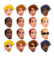 Male faces isolated characters vector image vector image
