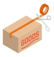 Isometric cardboard box with tape and scissors vector image