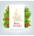background with Christmas holly and candle vector image