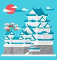 Flat design Himeji castle Japan vector image