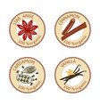 set of spices labels 100 organic collection vector image