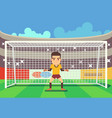 soccer goalkeeper keeping goal vector image