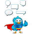 Super Blue Bird Giving A Thumbs Up vector image