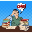 Student with Stack of Books Pop Art vector image