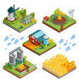 rural farm landscape elements vector image