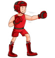Man in red outfit doing boxing vector image