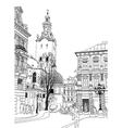sketch of Lviv historical building vector image