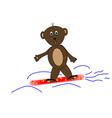 Teddy bear on snowboards vector image