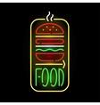 Light neon food label vector image