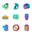 camera icons set cartoon style vector image