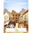 Two kids near the saloon bars holding two empty vector image vector image