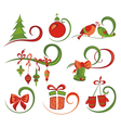 Set of Christmas icons and elements vector image