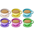 Coffee in colorful cups vector image