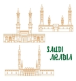Ancient mosques of Saudi Arabia thin line icon vector image