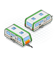 isometric roulotte in two different positions vector image