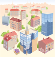 Old and New City Buildings Set vector image