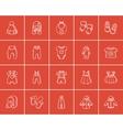 Baby clothes sketch icon set vector image