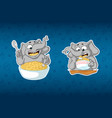 stickers elephanthe eats porridge with a spoon vector image