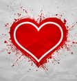 Creased old paper with handmade red heart vector image