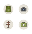 Camping color icons set vector image