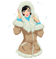 girl in winter clothes vector image