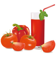 group with tomatoes and glass vector image