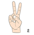 Sign language number 2 vector image