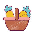 supermarket basket with carrots vegetables vector image
