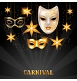 Carnival invitation card with golden masks and vector image