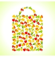 Fruits and vegetables in the shape of shopping bag vector image vector image