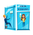 window cleaning cartoon icon set design vector image