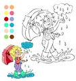 Coloring book rainy weather theme vector image