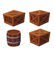 barrel and boxes on white background vector image