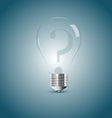 Bulb lamp with question sign inside vector image
