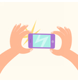 Cartoon hand making a photo by smartphone vector image
