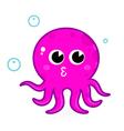 Pink cartoon octopus vector image