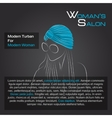 Woman in blue turban on black vector image