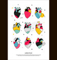 set of human hearts in the memphis style vector image