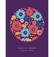 Colorful bouquet flowers circle decor pattern vector image