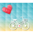 bicycle with red heart balloons vector image