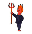 comic cartoon devil with pitchfork vector image