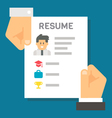 Flat design hand holding resume for interview vector image