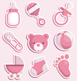 baby shower pink icons vector image