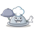 chef with food tray character cartoon style vector image
