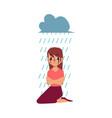 grief depression - woman sitting under rain cloud vector image
